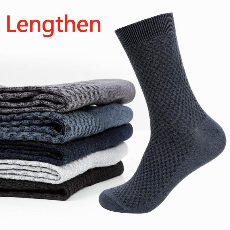 5 pares novos alongados Fibra de Bambu Meias dos homens desodorante meias para homens tamanho grande elástico mid tubo de peúga