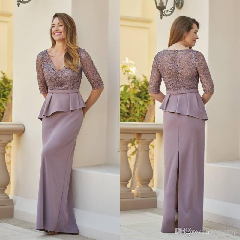 Lavender Lace Mother of Bride Dresses Plus Size Modest V Neck Half Sleeve Prom Evening Gowns With Peplum Floor Length Wedding Guest Dress