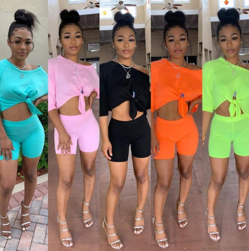 Womens Tracksuits Summer 2 Two Piece Short Outfits Set Off One Shoulder Bow-knot Crop Top Biker Shorts Clothes Plus Size Pink Black 8821