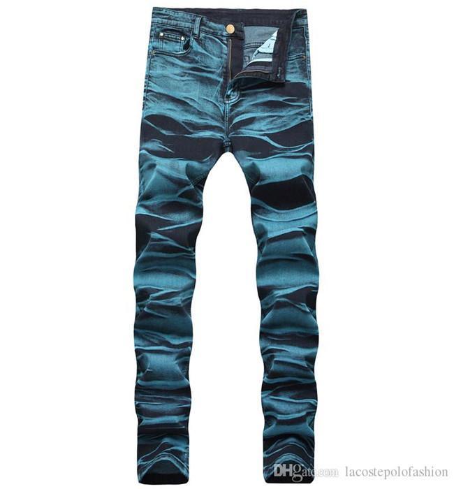 Синий Омывается молния Fly Man Карандаш Джинсы Дизайнерские Середина талии Человек Длинные брюки Мода Hemme джинсы