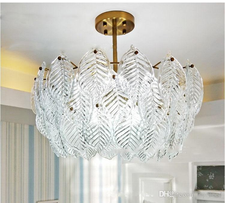 Европейский итальянский чистый ручной искусство стекло дерево листья потолочный светильник люстра гостиная столовая вилла сад
