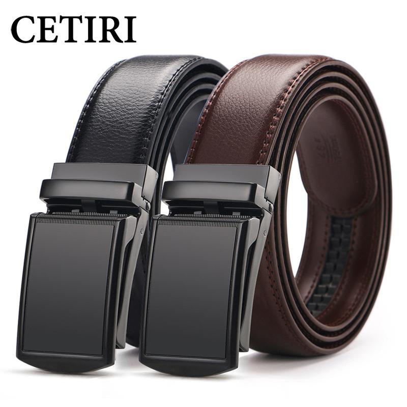 الرجال CETIRI في اسئلة فوق حزام من الجلد الحقيقي حزام فستان للرجال الجينز holeless أوتوماتيكية ينحدر مشبك حزام البني السوداء CIN T200113
