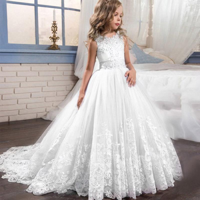 2019 vestido de fiesta de fin de curso formal largo de la princesa del cordón del vestido de boda del blanco niños de primera comunión para Girl 3-14 Año de vestuario CJ191223