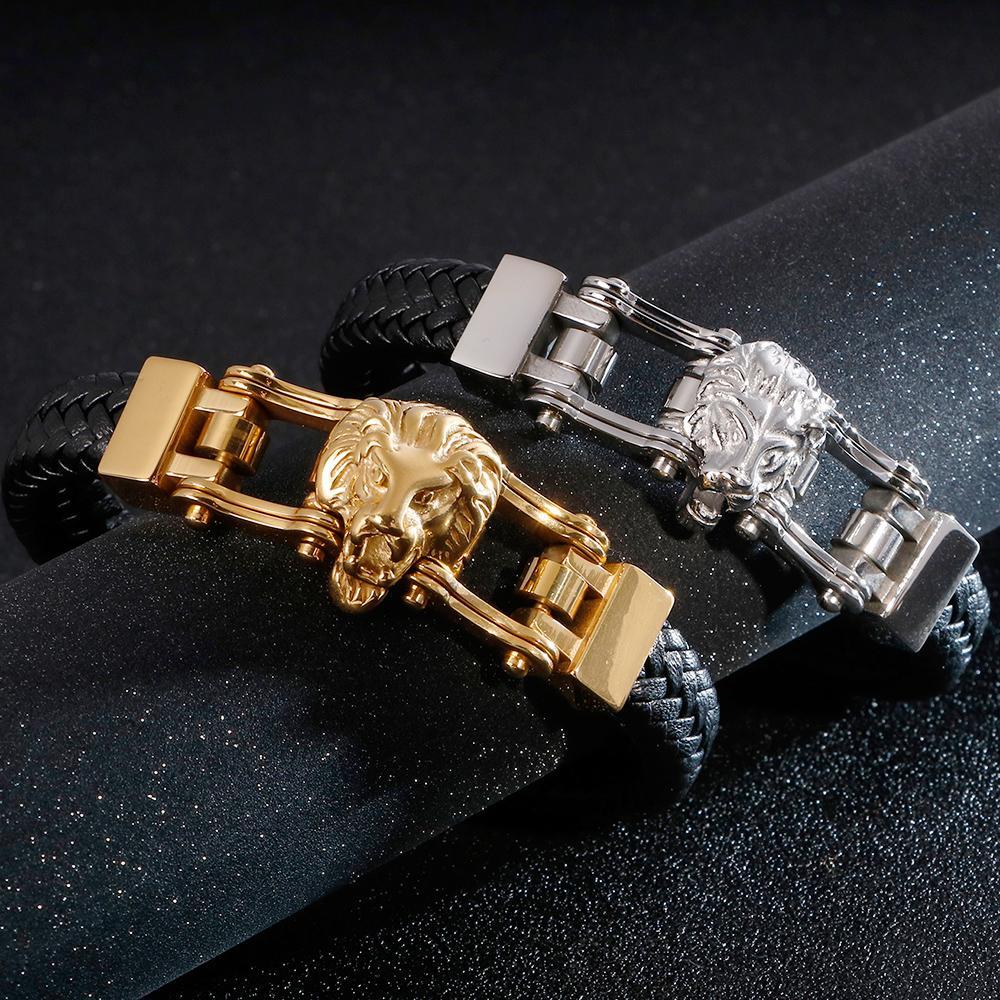 Punk Rocker Lion Head Leather Bracelet Men Bicycle Motorcycle Chain Mens Wrap Bracelets 2019 Gold Stainless Steel Biker Jewelry