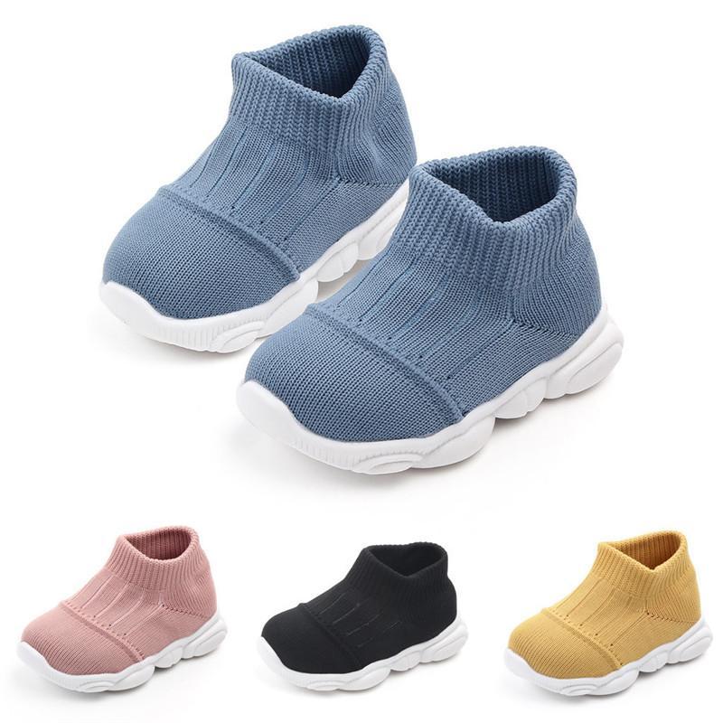 Neonate dei ragazzi a strisce di sport della maglia Run scarpe da tennis dei pattini casuali solido traspirante di colore dei bambini volare tessuta scarpe calze