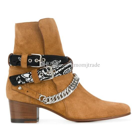 Original Box New York Fashion Kanye West Boots Bandana Schnalle Stiefel Kette echtes Leder Brown Suede Cowboy Mann Rock-Schuhe