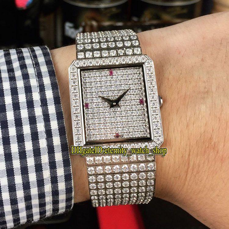 Luxo Edição Jóias Diamonds Assista Series G0A02701 Gypsophila Dial Designer relógios suíça Movimento Quartz Mens Watch Diamante Caso Senhora