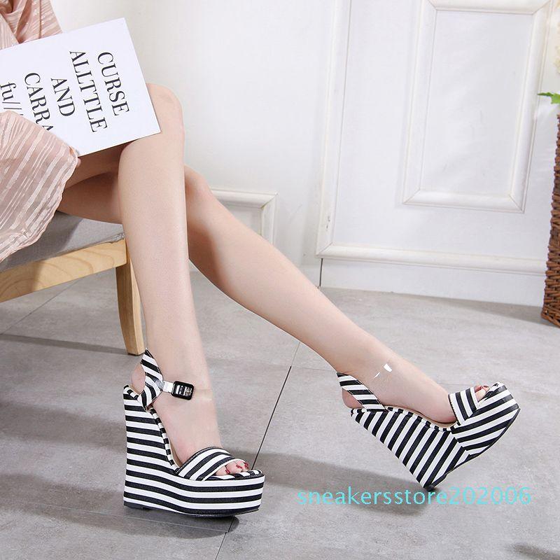 15cm Chic platform wedges sandals black white zebra striped PVC strappy shoes designer high heel size 35 to 40 06s