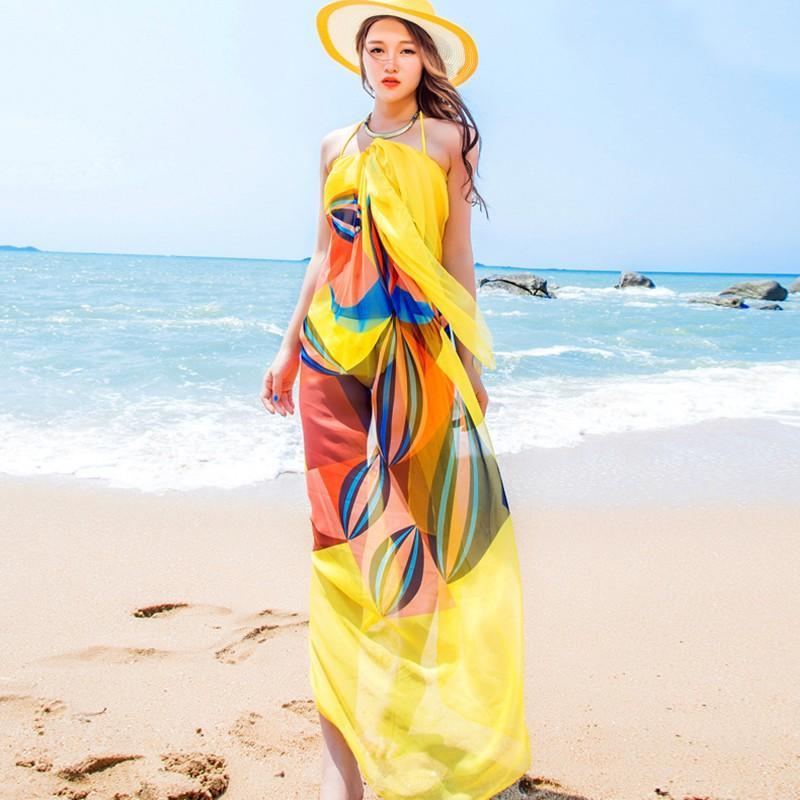 140x190cm Pareo Scarf Mulheres Praia Sarongs Verão Chiffon lenços geométrica Projeto 2019