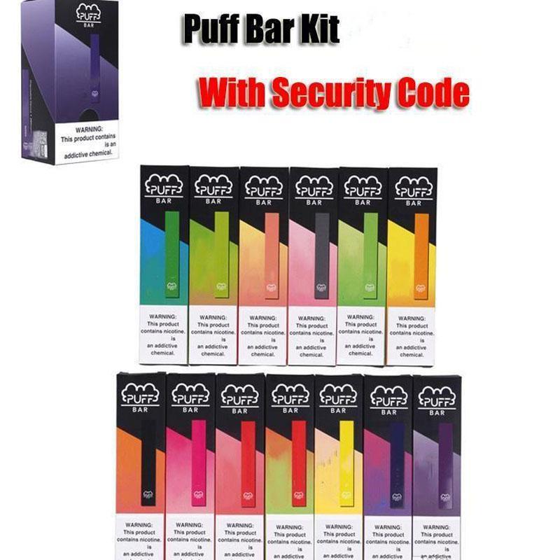 Barra folhada descartável vape pod starter kit tabaco sabores com código de segurança 1.3ml 280mAh pufbar pen e cig vape dispositivo vazio