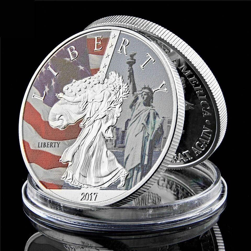 2017 Statue de la Liberté Pièce commémorative Argent 1 oz In God We Trust Collectibles États-Unis Défi Coin