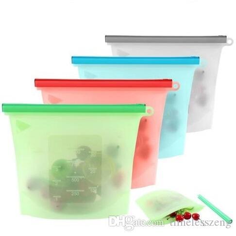 Wiederverwendbare Silikon-Lebensmittel-Konservierungs-Tasche Vakuum-Sealer-Taschen Kühlschrank Lebensmittelaufbewahrungsbehälter Gefrierheizung für Küchenfutter Frische Tasche