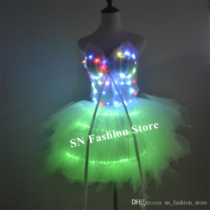 Tutu Lumineux à LED Jupe avec Lumière pour Soirée Rave Danse Carnaval