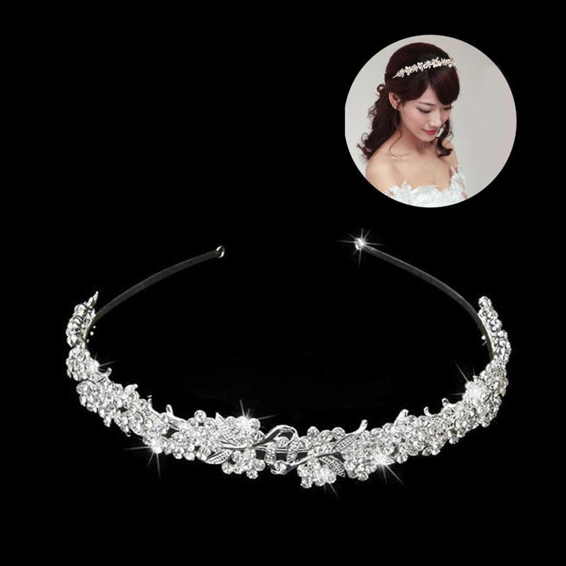 Feuille d'or Perle mariée Coiffe pour les femmes Bijoux de cheveux de mariage en cristal diadème Bandeau Fleur perlée de bal de mariée bande de cheveux