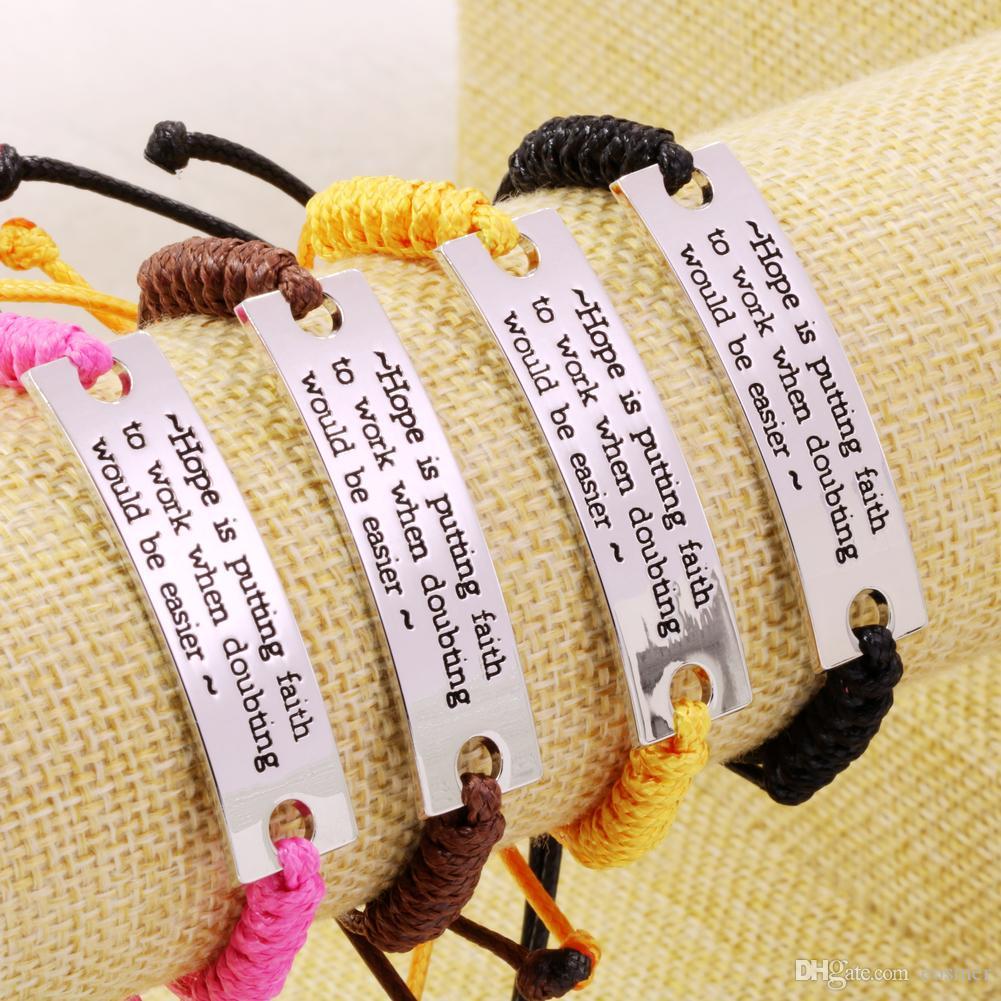 2019 حار بيع سوار تشجيع المجوهرات مختوم سوار مع الكلمات الملهمة أفضل الهدايا للنساء الفتيات الشحن المجاني