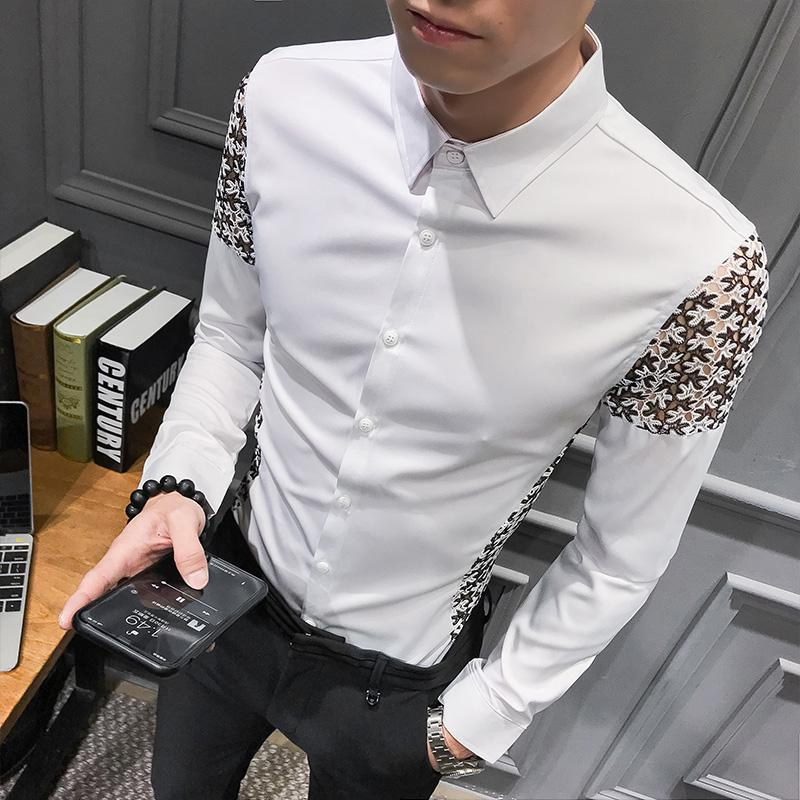 Brand 2019 Fashion Male Shirt Long-Sleeves Tops Lace Design Sexy Club Party Mens Dress Shirts Slim Shirt Chemise Homme
