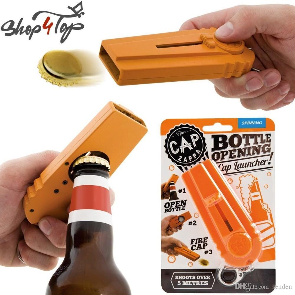 Original Cap Divertido Zappa Botella Apertura Cap Llavero Llavero, Cap Shooting Bar Bar Cocina Cerveza Botella Abre Arriba Cap Launcher Llavero Regalo