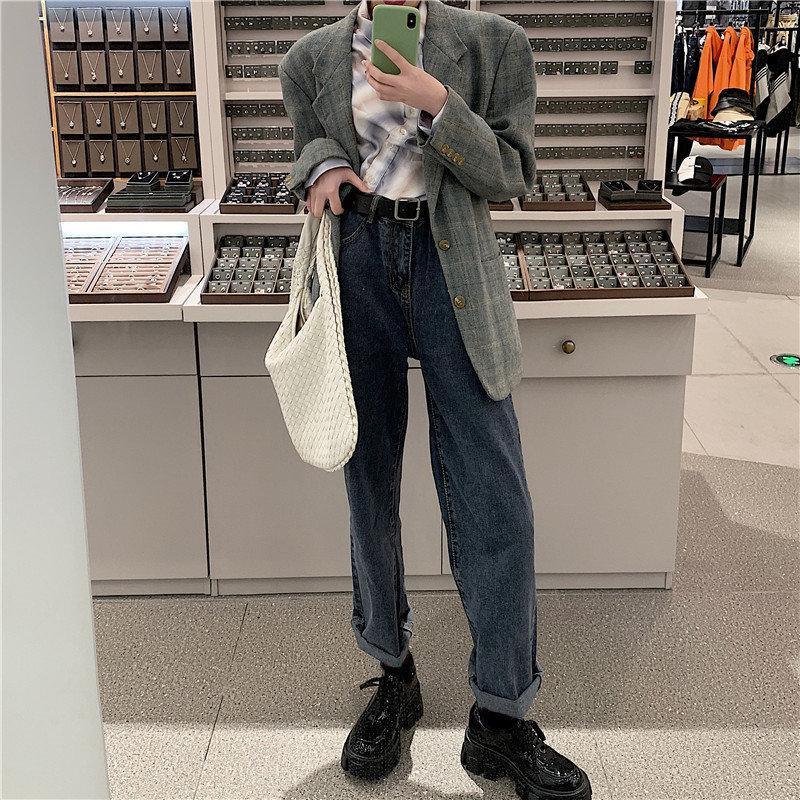 Estrangeiro Kitty 2020 solto Magro toda a partida reta calças jeans de cintura alta Além disso Lazer Stylish Jeans Cowboy Calças Casual Chic