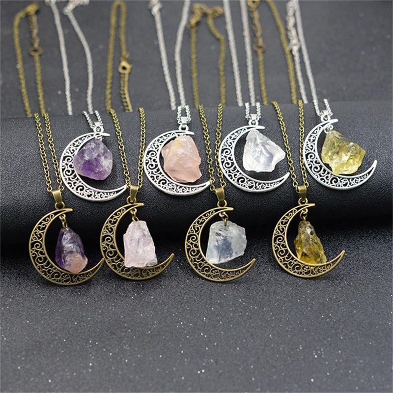 Colar de Prata Moon Goddess Pedra Natural Pingente Bruxa Wicca mágico do presente muitas cores