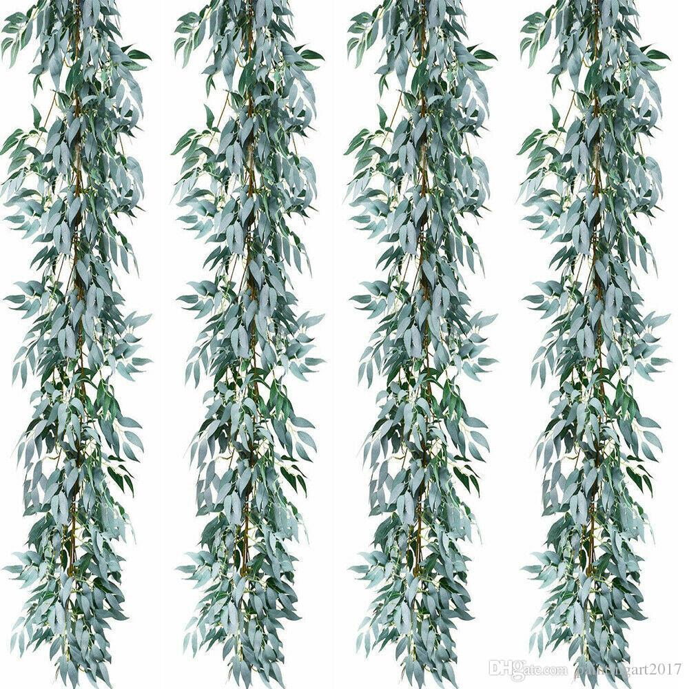 2pcs / lot Artificial Grey salice Foglie Garland Faux seta contesto di cerimonia nuziale della parete della decorazione per la sarchiatura Decorazione Foglie