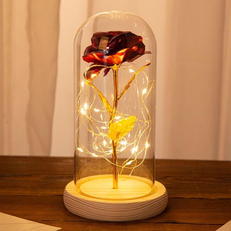 Ahşap Taban Valentine Yıldönümü Düğün hediyesi LED Gül Lambaları On Yapay Çiçek Ve LED Gül Işık Dize In Cam Kubbe