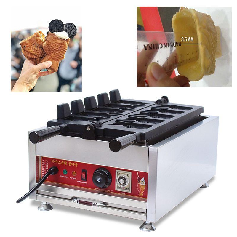 Sokak Gıda Kore dondurma Taiyaki Koni Makinesi 110 V 220 V Açık Ağız Balık Şekilli Waffle Koni Makinesi Baker Pan