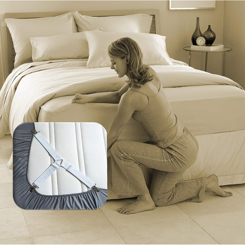6 Sides Bed Suspender Straps Mattress Fastener Holder Crisscross Grippers Clips