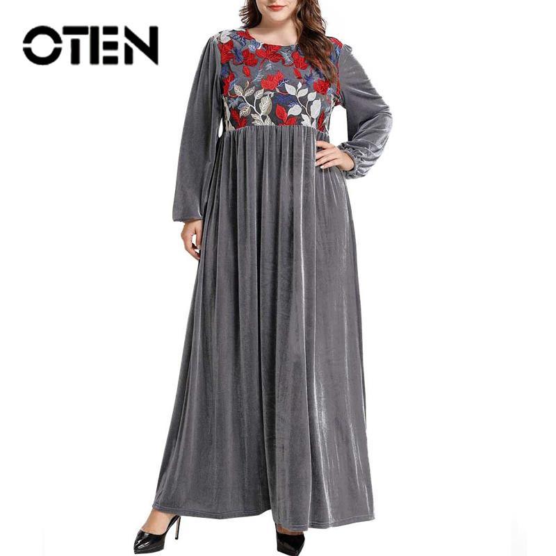 Oten hohe Taillen-Kleid für Frauen Muslim Abayas beiläufige lange Ärmel Stickerei Elegant Gray Robe Weiblich Patchwork Damen 2020 Neue