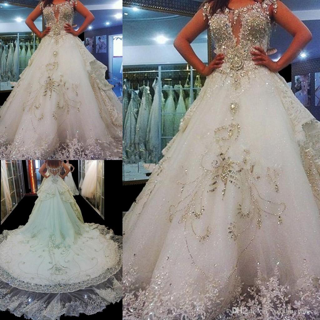 De luxe A-ligne robes de mariée A-perles Appliques ligne de train tribunal Vestidos de Noiva robe de mariée Robes de mariée