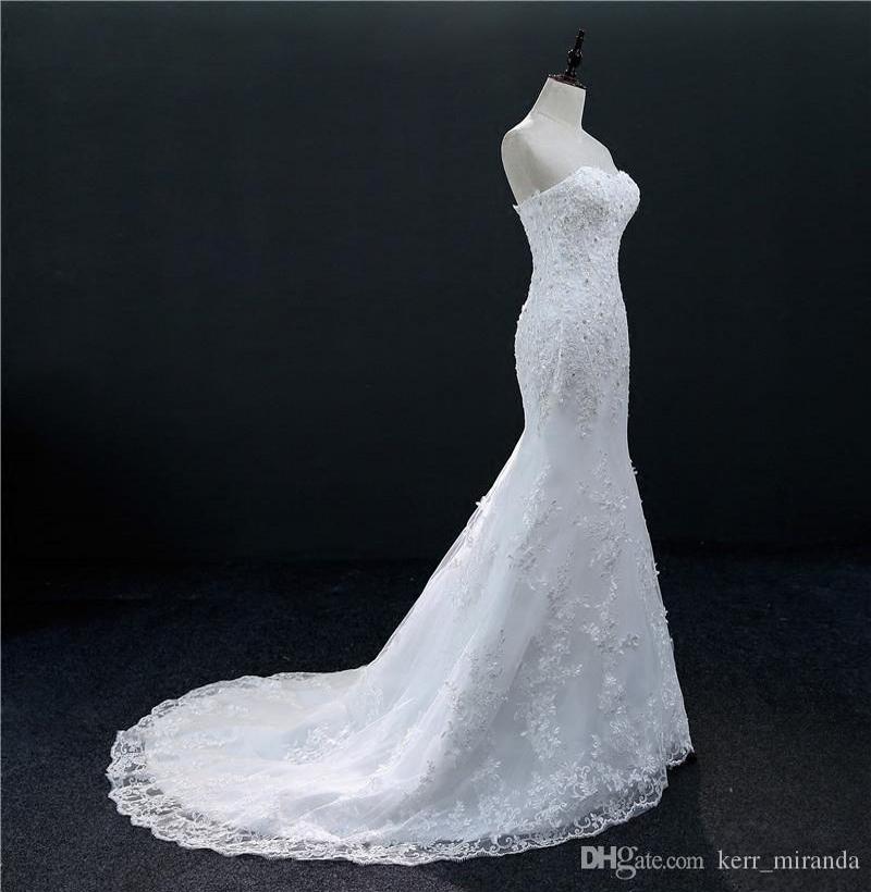 Moldeado del cordón de la sirena vestidos de boda Vestidos de novia 2020 vestidos de boda del amor con Appliques ata para arriba el envío rápido DH71