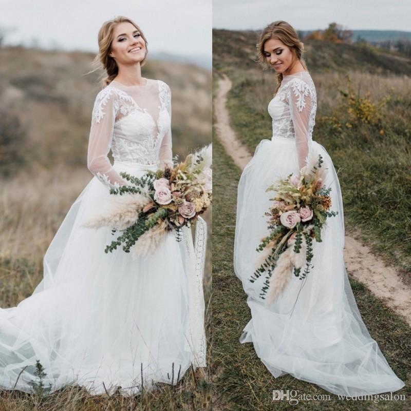 Moda Duas Peças de Renda Vestidos de Casamento Praia Sheer Jewel Neck Mangas Compridas Bohomian Vestidos de Noiva Appliqued Uma Linha Tulle Vestido De Novia