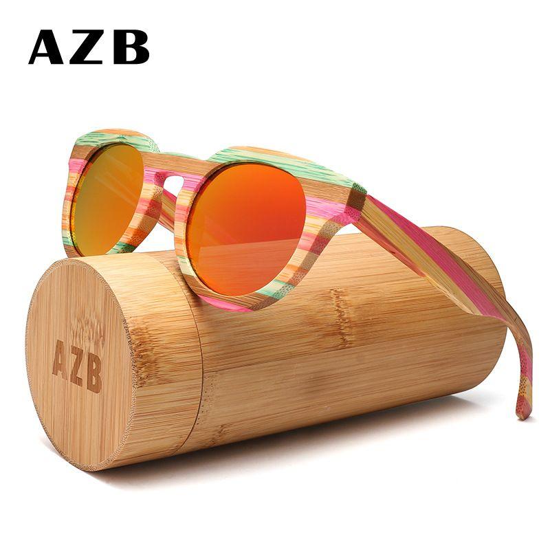 AZB óculos de sol de madeira coloridas para Mulheres Olho de gato de madeira polarizada óculos de sol de marca óculos designer