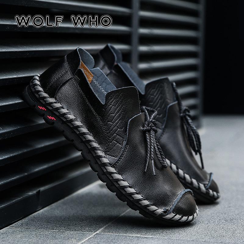 Lobo que los hombres respirables de los zapatos ocasionales adultos mocasines de cuero genuino resbalón en la alta calidad de la zapatilla de deporte masculino grande más el tamaño de 38-50 W-015