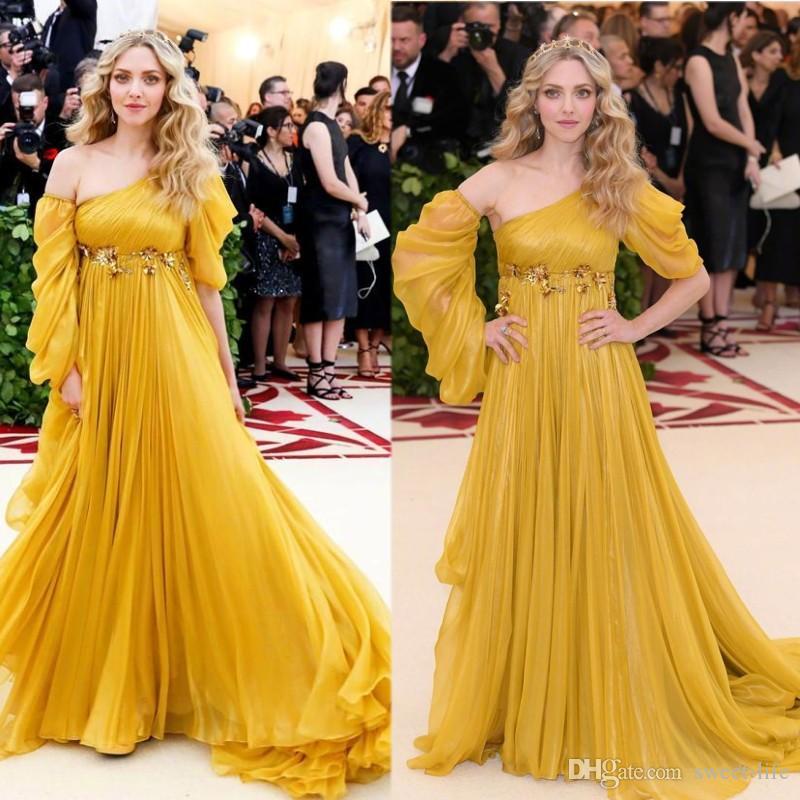 Stunning indossare abiti sexy una linea Evening 2020 una spalla Vintage Prom Dresses Chiffon plus size partito lungo