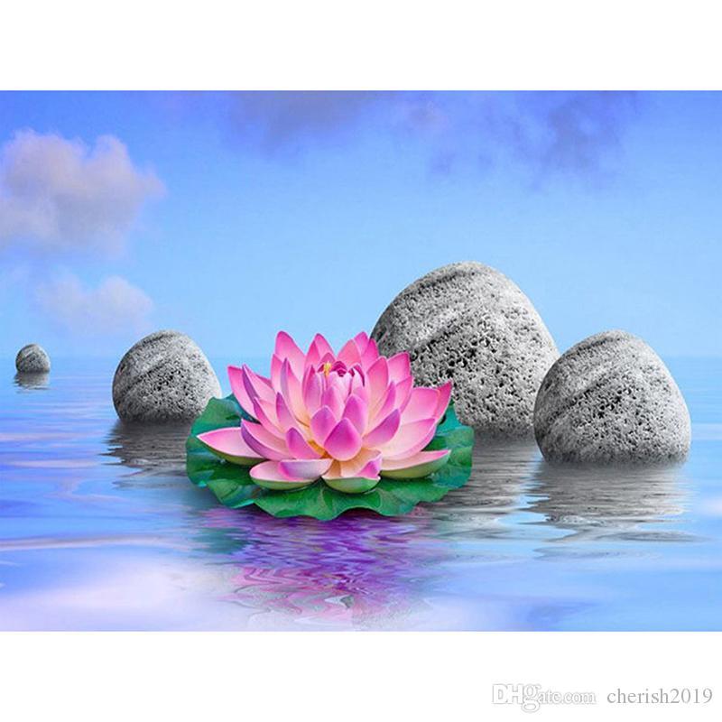 5D bricolage artisanat d'art Lily pleine eau peinture diamant peinture ronde ou carrée diamant de forage broderie kits de point de croix décoration maison gif