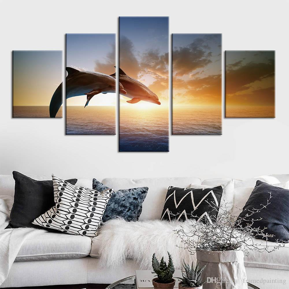 Modern HD Printed Painting Canvas Home Decor 5 Piece Jumping Dolphins Couple Poster Wall Art Picture