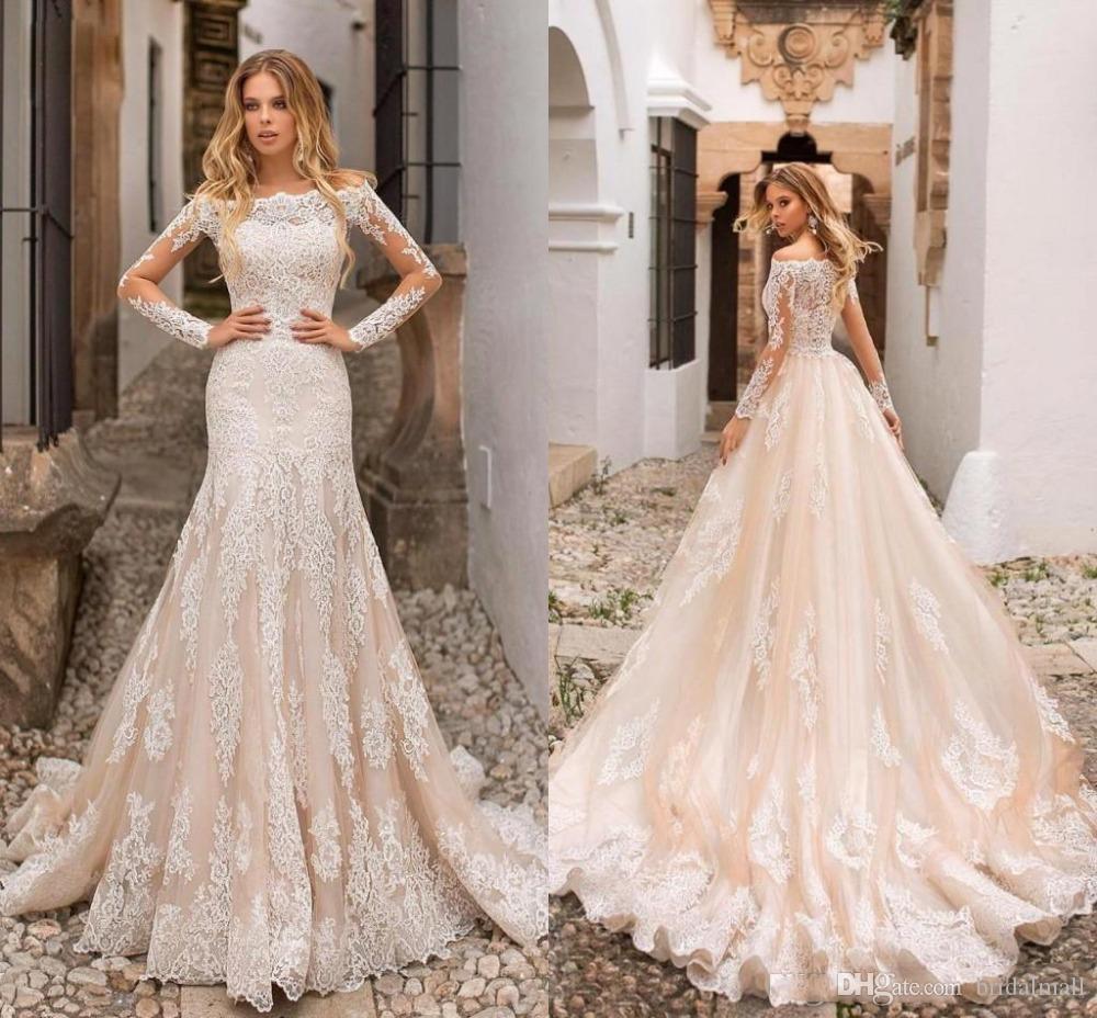 새로운 2020 얇은 긴 소매 아플리케 레이스 인어 웨딩 드레스 분리 기차 샴페인 얇은 명주 그물 신부 드레스 섹시한 플러스 사이즈 웨딩 드레스