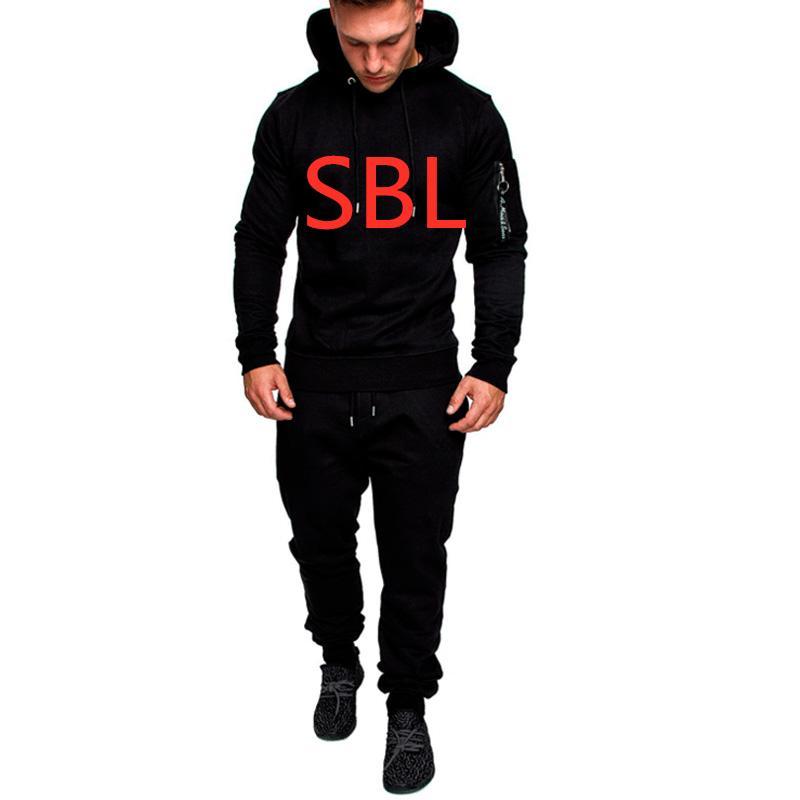 SBL Tracksuit Men's Solid Sportswear Spring Hoody Autumn Hoodies Track Suit Mens Jacket+Pant Warm Winter Solid Color Sweatshirts