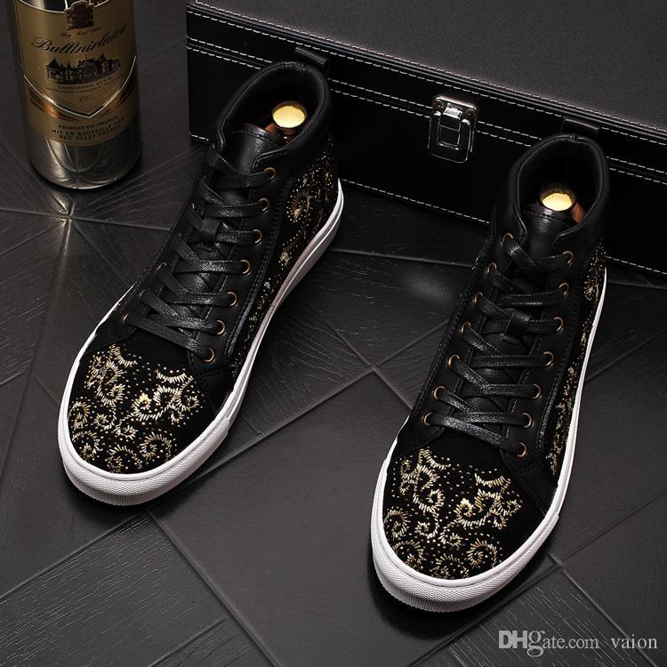 El más nuevo diseñador real Hombres azul Bordar tops altos Causal Mocasines plataforma plana zapatos de baile Mocasines rock punk zapatos de novio