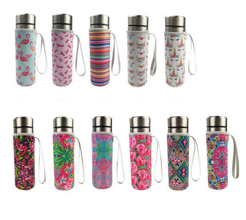Flamingos Neoprene Water Bottle Cooler Bottle Holder Cover Sleeve Insulated Glass Drink Bottle Protection Cover Carrier Drinkware Accessory