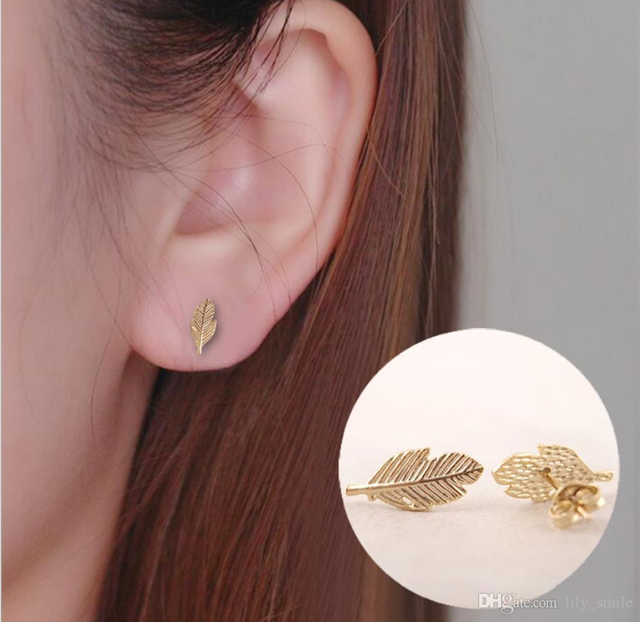 2019 new gold and silver leavesearrings autumn leaves, beautiful and beautiful, cold feelings, feathers, earrings, jewelry, wholesale and