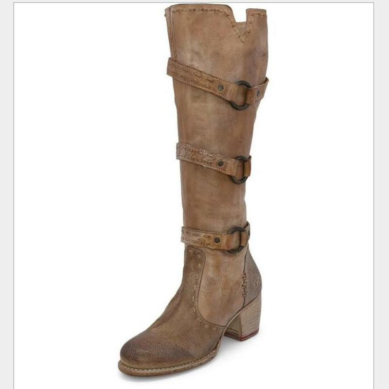 Las mujeres altas botas hasta la rodilla con tacones gruesos zapatos calientes de la vendimia de la PU de cuero botines de gladiadores mujer mujer zapatos de mujer botas HP2462
