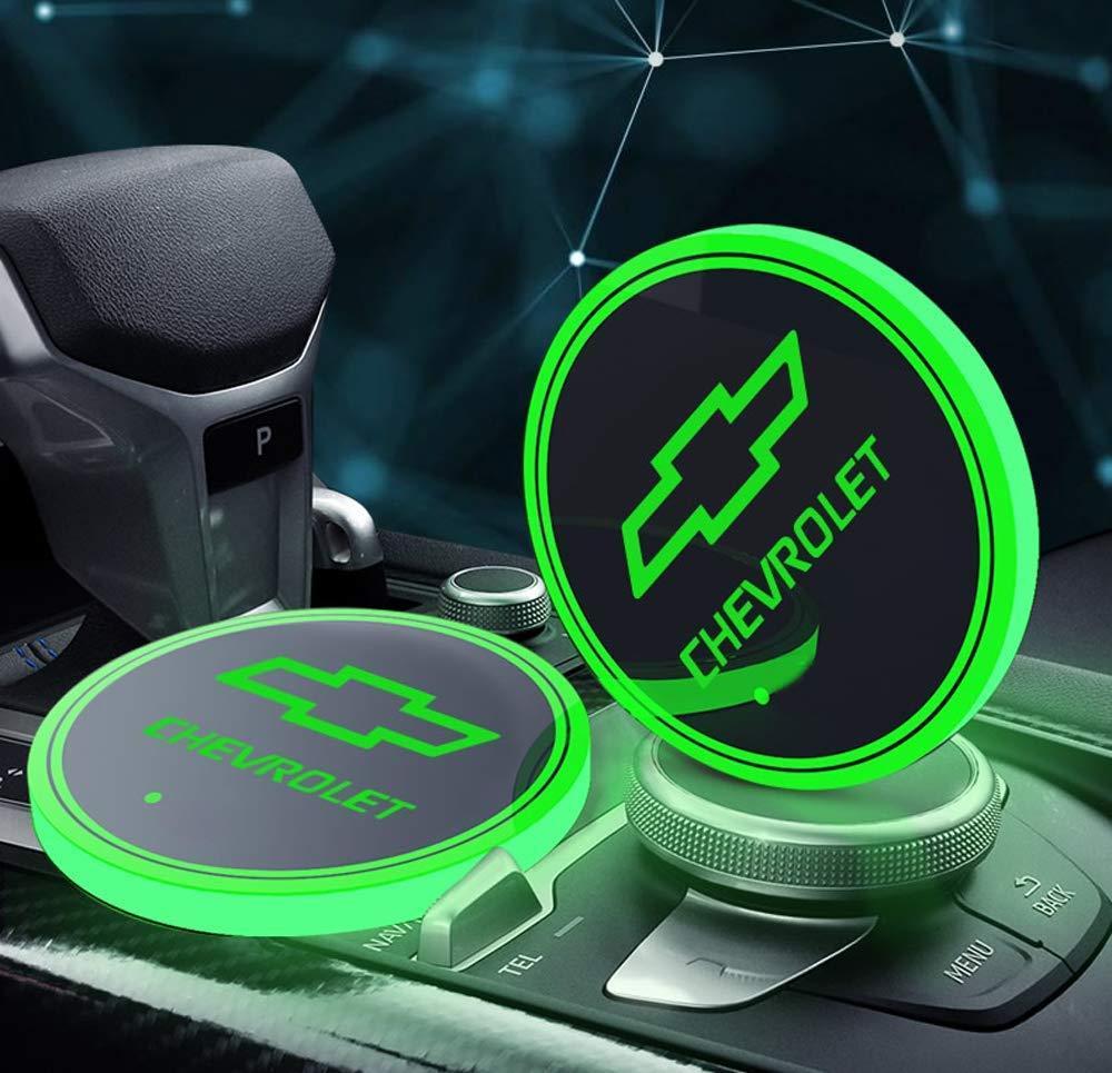 2PCS LED أضواء حامل كأس سيارة لشفروليه ، 7 ألوان تغيير USB شحن حصيرة سادة كأس الانارة ، مصباح LED الغلاف الجوي الداخلية