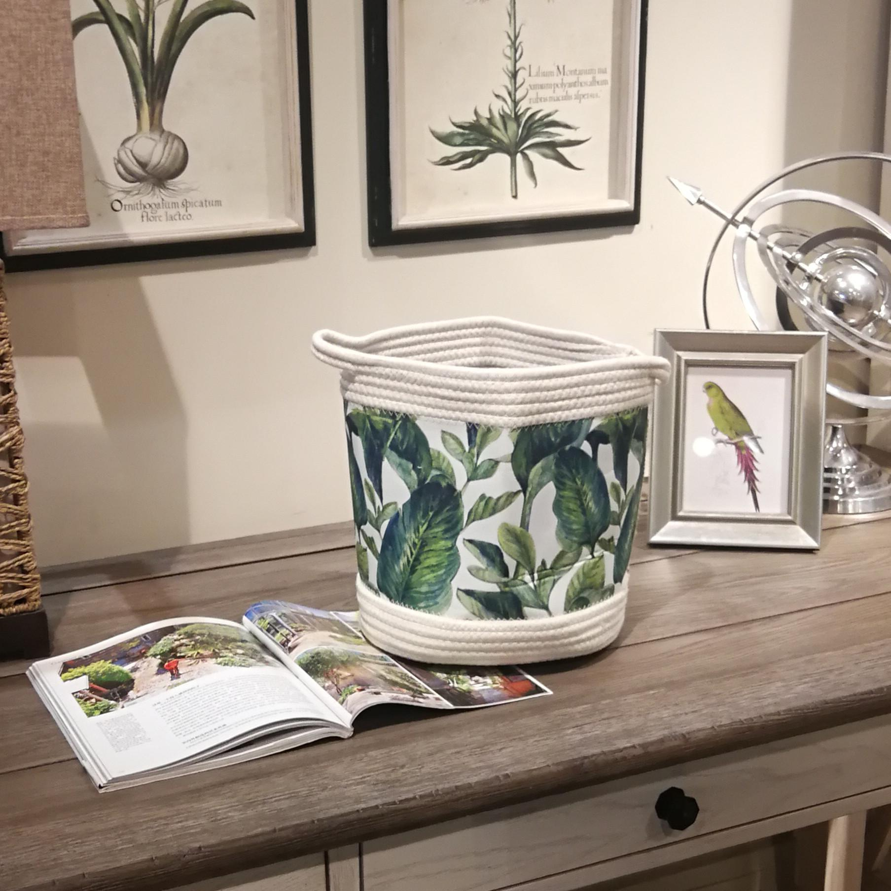 Software Foldable Receptacle Bucket Tropical Style Flowers Leaves Ins Pure Cotton Rope Stitching with Handle Euro and American Style