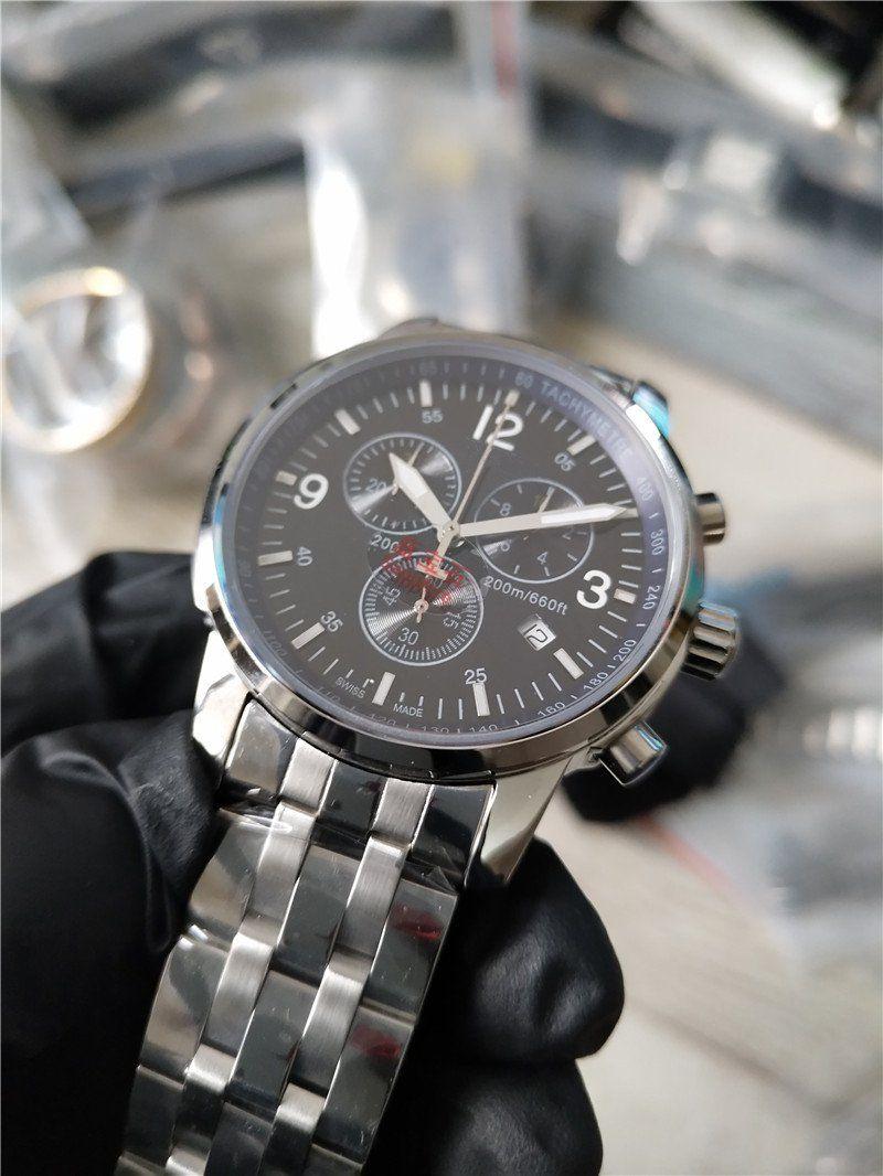 Freies Verschiffen Qualitäts-Mann-Uhr-Quarz Stoppuhr Sport Stil Uhr Chronograph Uhren Edelstahlband Saphirglas 012