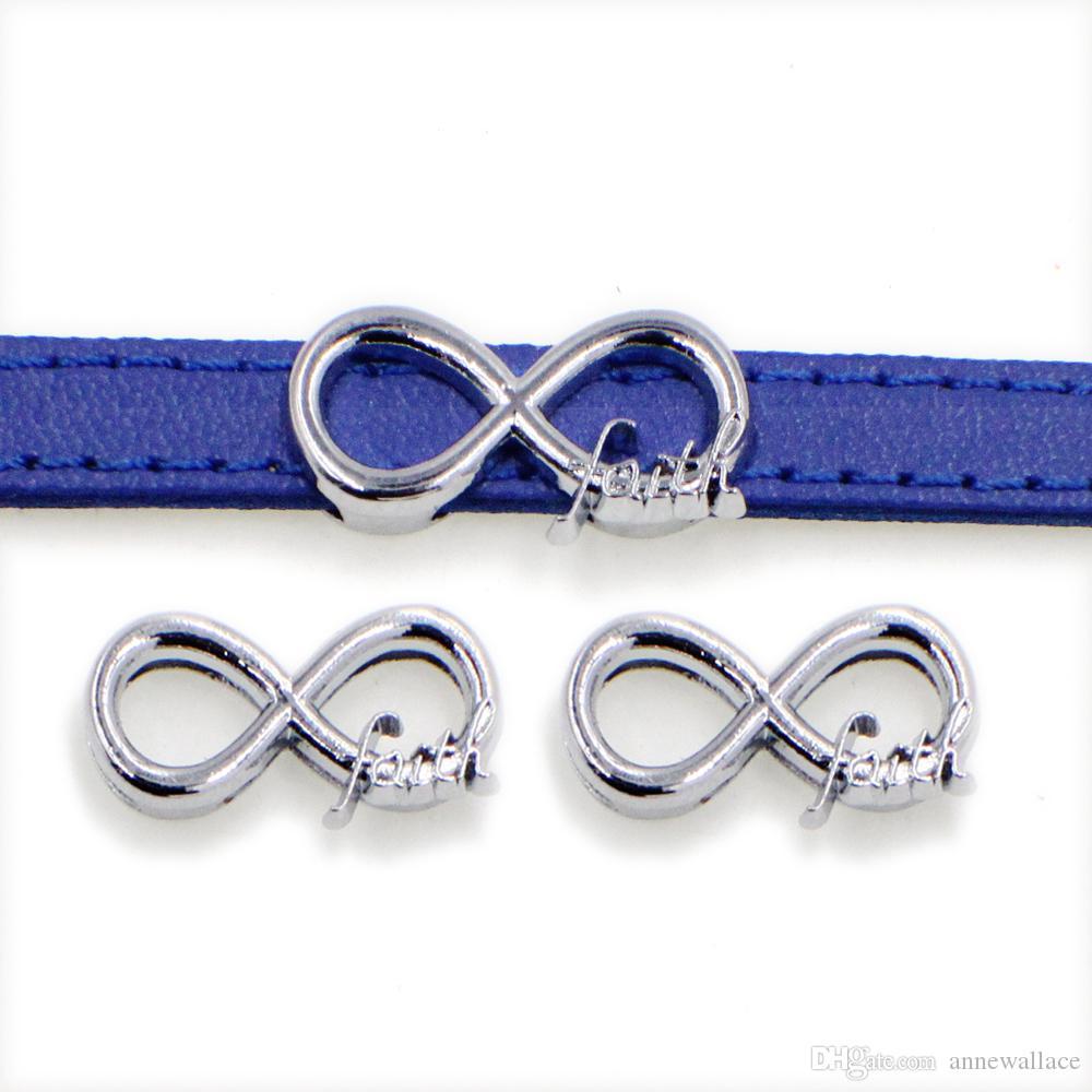20pcs / lot 8mm infinito fede diapositiva fai da te fascino per bracciale cinturino 8mm braccialetto