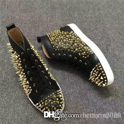 Lüks Çiviler Kırmızı Alt Pik Yüksek Top Beyaz Hakiki Deri Pik Pik Dikenler Sneaker Ayakkabı Kadınlar, Erkekler Üst Kalite Günlük Ayakkabılar Açık Trainer