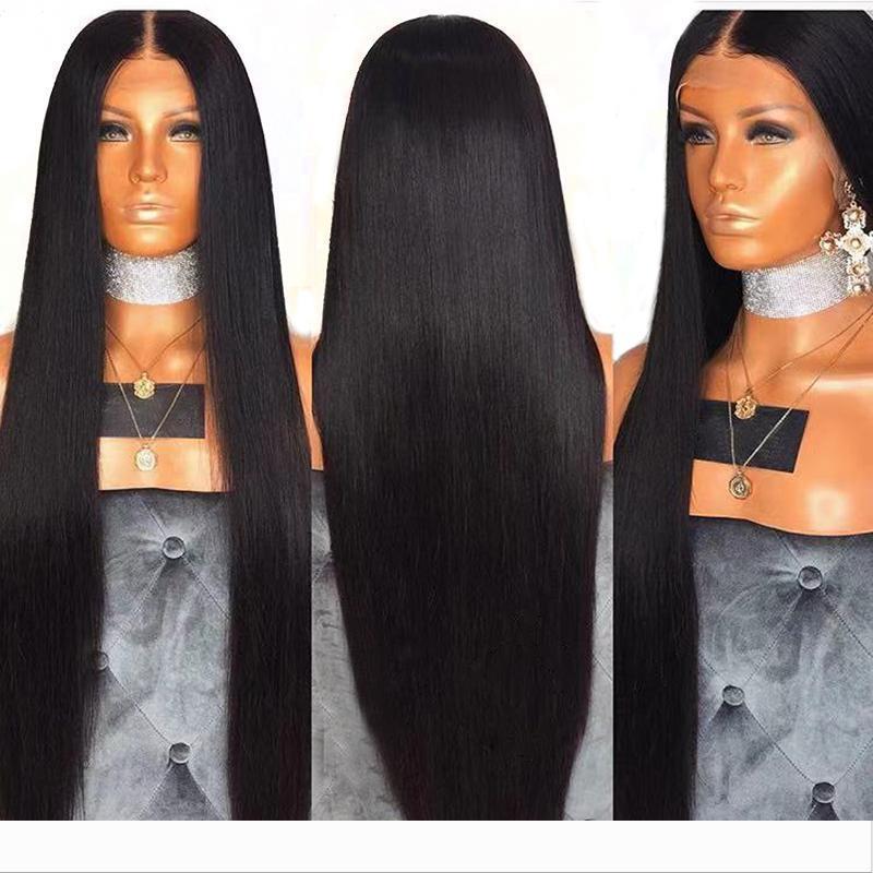 PAFF piena del merletto dei capelli umani parrucche naturali Neri Lisci capelli brasiliani di Remy Capelli Pre Pizzico candeggiati Nodi bambino parte libera