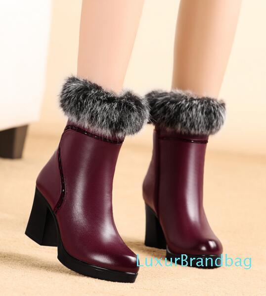 Hot Sale-Moda Thick Natural pele neve botas mulheres botas real Vaca Couro impermeável inverno quente ao ar livre Bota Botas
