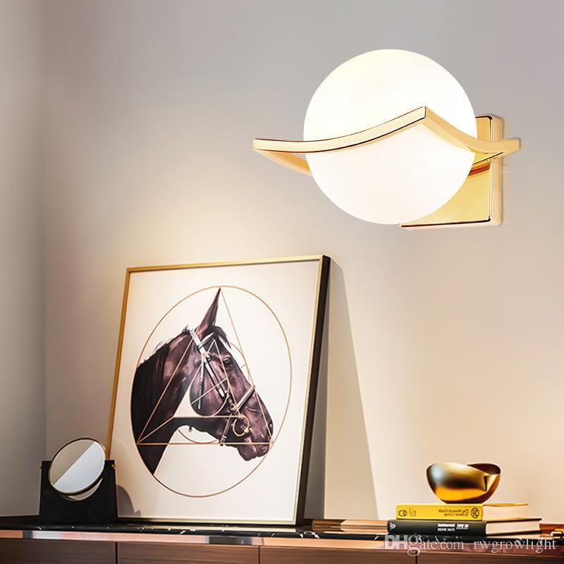 Las luces LED de pared metal creativo única bola de cristal Lámpara de pared de pasillo Pasaje dormitorio lámpara de cabecera del envío AC85-265V - RW05